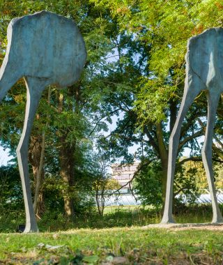 Sainsbury Centre Sculpture Park Elisabeth Frink Mirage I and II. ©Andy Crouch 2018
