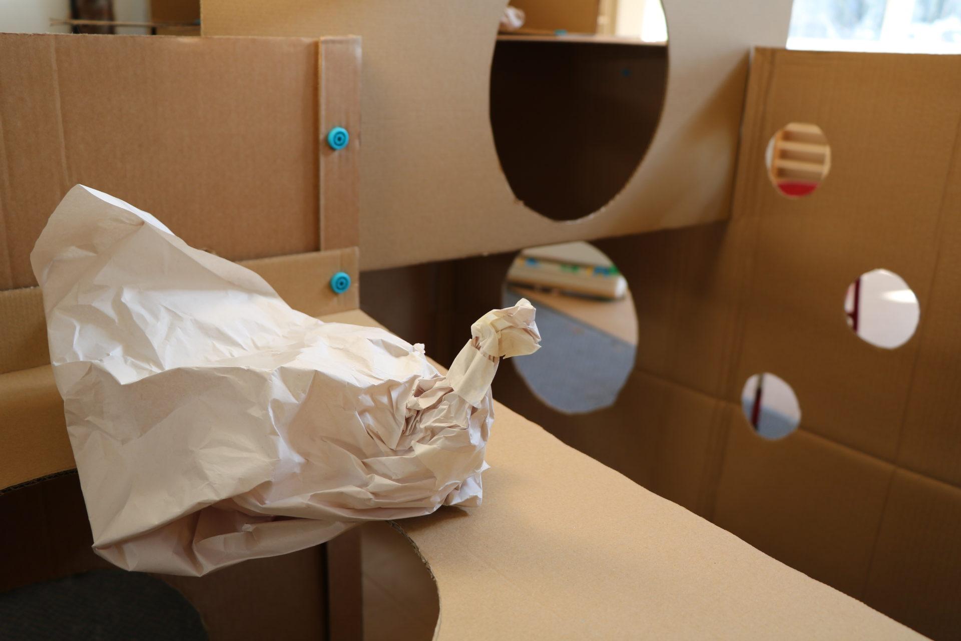 paper bird, cardboard, holes