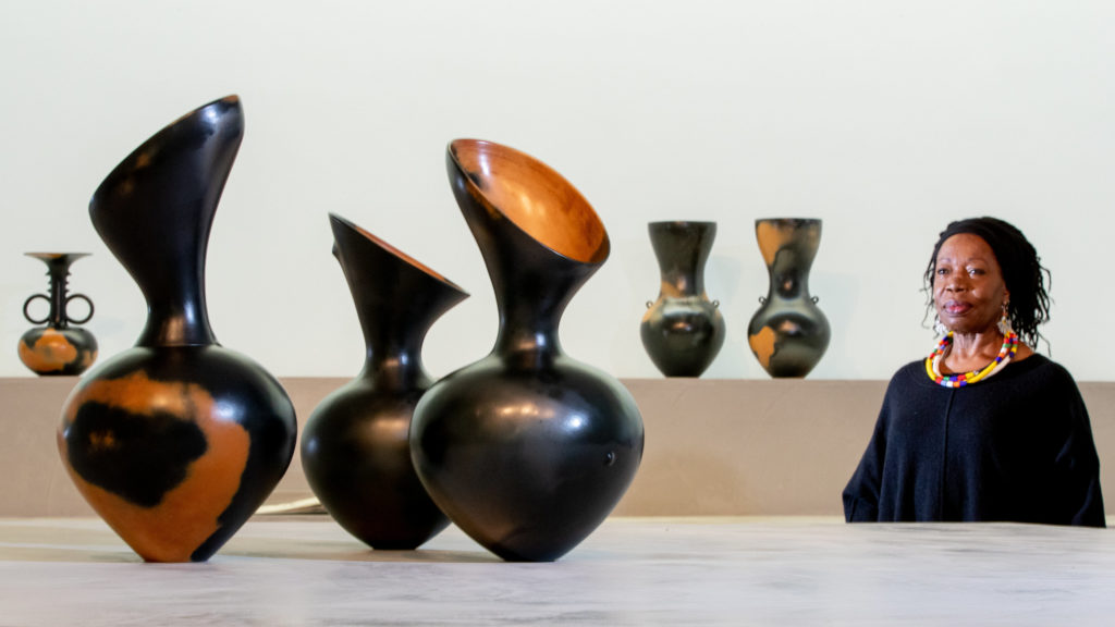 Magdalene Odundo with her new exhibition