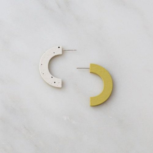Wolf and Moon Arc Studs